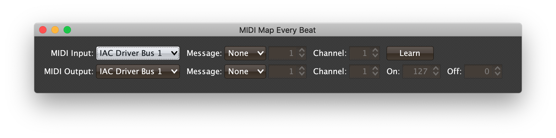 MIDI mapping interface